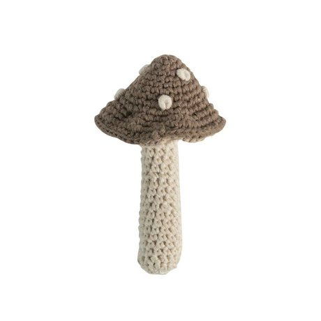 Sebra Rattle mushroom light cotton 7x12cm