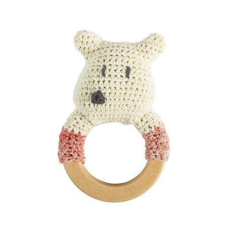 Sebra Rammelaar ijsbeer wit multicolour katoen hout 13x8cm
