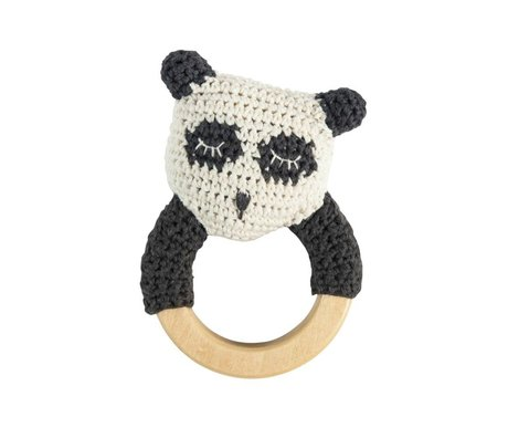 Sebra Rattle panda white cotton wood 13x8cm