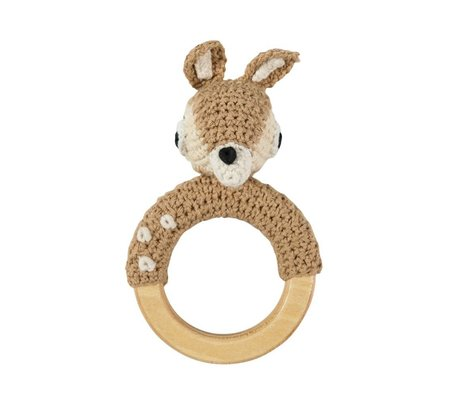 Sebra Rattle deer brown cotton wood 13x8cm