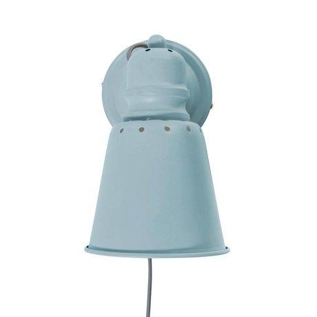 Sebra Wandlamp lichtblauw metaal Ø13cm