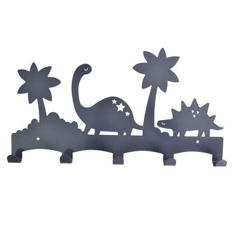 Eina Design Kinderkapstok Dino antraciet grijs metaal 40x21,5cm