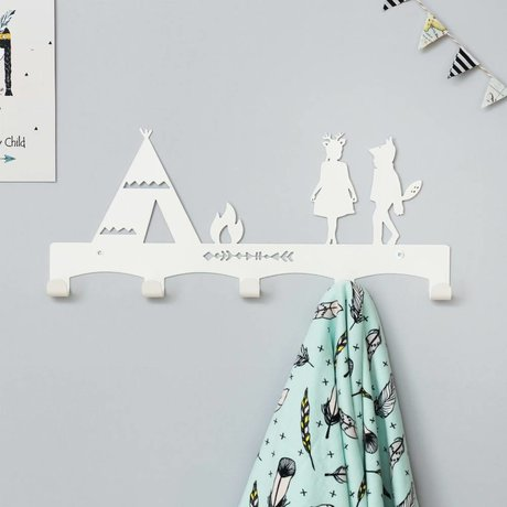 Eina Design Kinder Coatrack tipi white metal 40x17cm