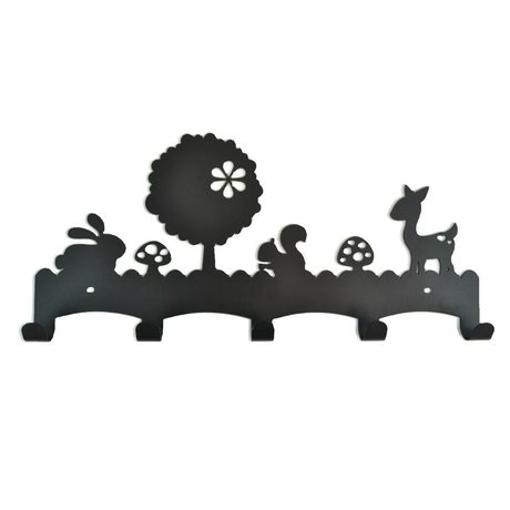 Eina Design Children's Coat Rack Woodland black metal 40x19cm