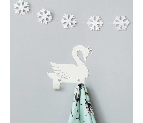 Eina Design Kinderwandhaak zwaan wit metaal 14x13cm