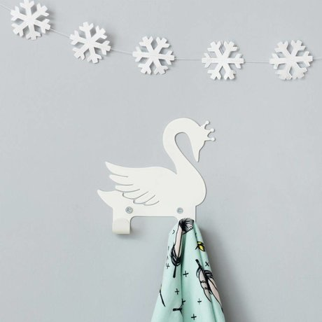 Eina Design Children's wall hook swan white metal 14x13cm
