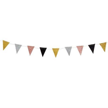 Madam Stoltz Kinderslinger vlaggetjes glitter multicolour papier 3M