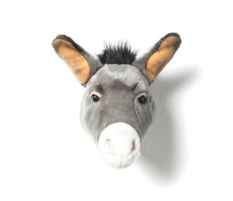 Wild & Soft Dierenkop ezel Francis grijs textiel 44x59x25cm