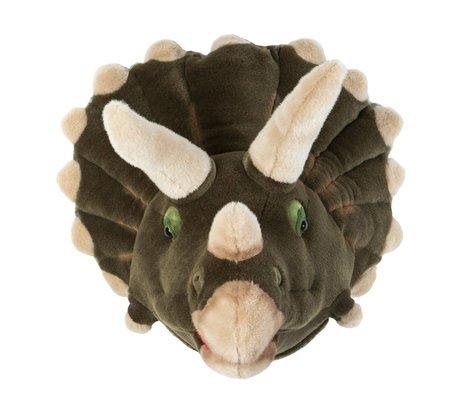 Wild & Soft Dierenkop dinosaurus Adam grijs 33x43x41