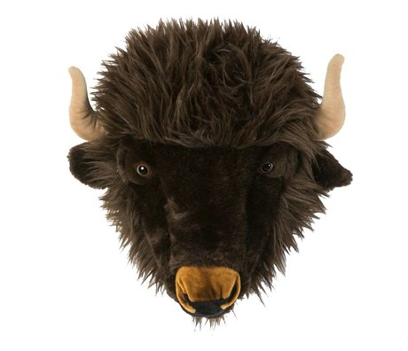 Wild & Soft Dierenkop buffel Alex grijs 35x39x30