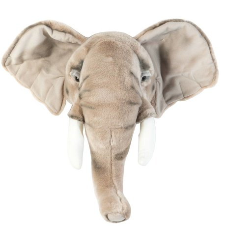 Wild & Soft Dierenkop olifant George grijs 44x59x25