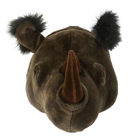Wild & Soft Dierenkop neushoorn Michael zwart 35x34x30