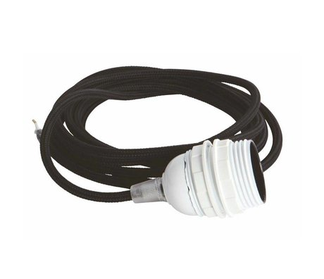 Housedoctor Electrical cord with fitting E27, black fabric wire, white cap, iron cord