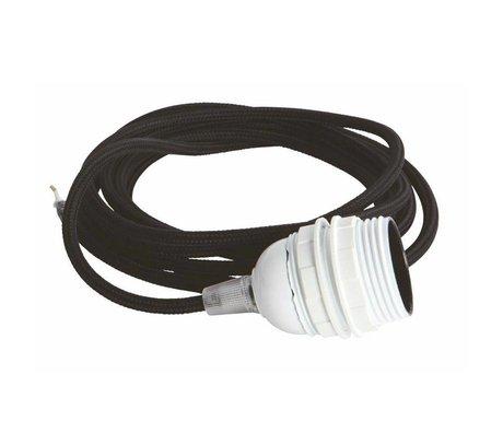 Housedoctor Snoer elektra met fitting E27, zwart fabric wire, witte fitting, strijkijzer snoer