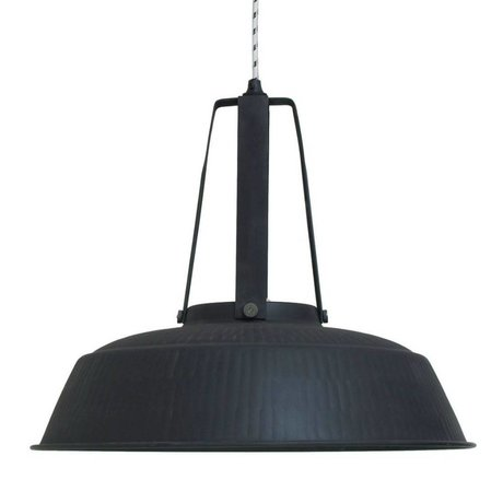 HK-living Pendant lamp workshop XL black mat rustic metal 74x74x70cm