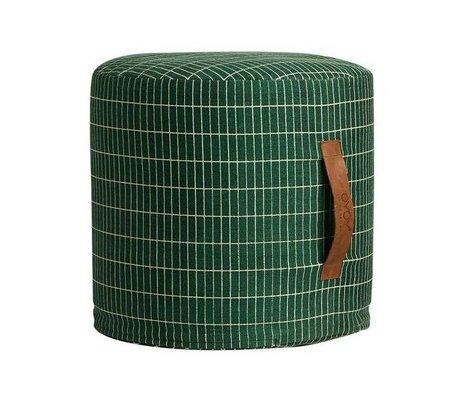 OYOY Kids pouf sit on me green white cotton 40x37cm