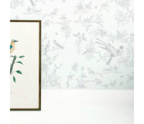 KEK Amsterdam Kids wallpaper Birds & blossom gray non-woven paper 97,4x280cm