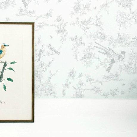 KEK Amsterdam Kinderbehang Birds & blossom grijs vliespapier 97,4x280cm