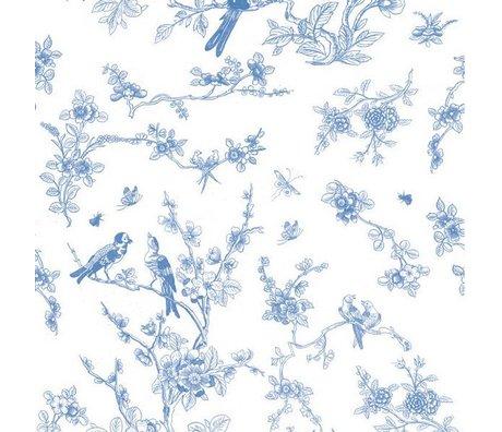 KEK Amsterdam Children's wallpaper Birds & blossom blue non-woven paper 97.4x280cm