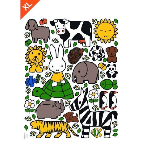 KEK Amsterdam Wall sticker Nijntje dierenvriendjes multicolour vinyl foil XL 95x120cm