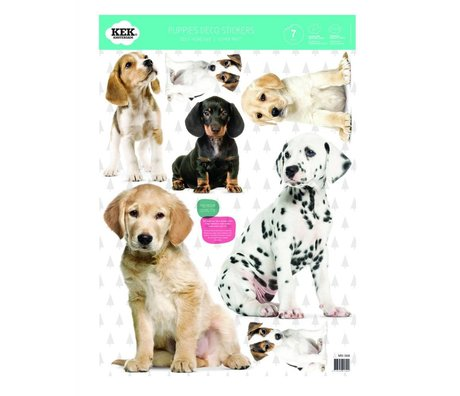 KEK Amsterdam Wallsticker Set puppies multicolored vinyl foil 42x59cm