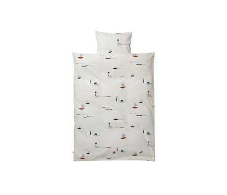 Ferm Living kids Kinderbeddengoed Seaside multicolour katoen 70x100cm-46x40cm