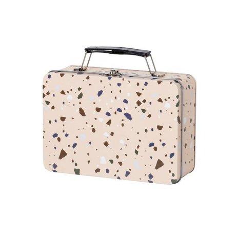 Ferm Living kids Lunchbox Terrazzo roze metaal 18,5x13x6,5cm