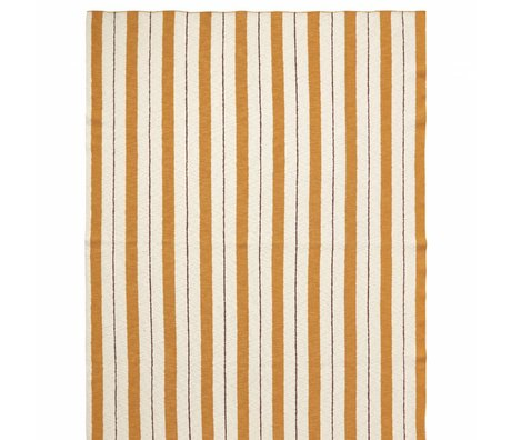 Ferm Living kids Plaid Pinstripe mustard yellow textile 160x120cm
