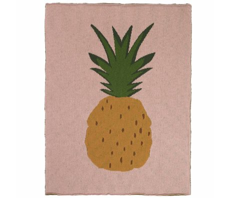 Ferm Living kids Blanket Pineapple pink brown cotton 80x100cm