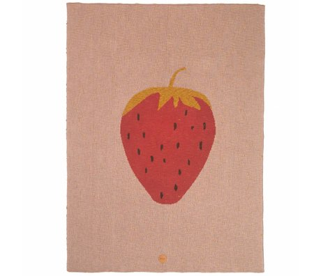 Ferm Living kids Blanket strawberry pink cotton 80x100cm