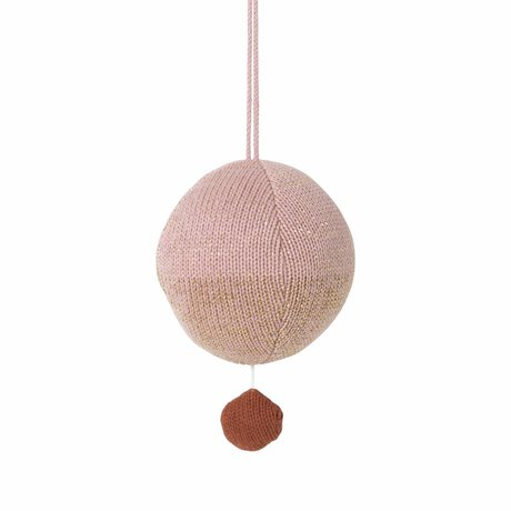 Ferm Living kids Mobile with music knitted cotton ball pink ø10cm