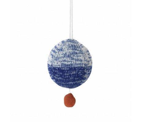 Ferm Living kids Mobile met muziek gebreid katoen bal blauw ø10cm