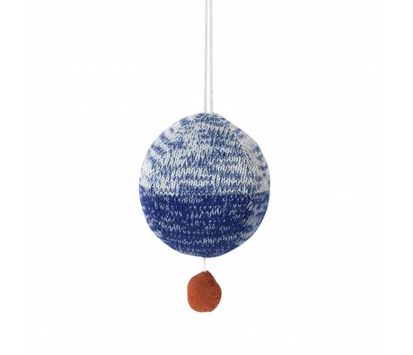Ferm Living kids Mobile with music knitted cotton ball blue ø10cm