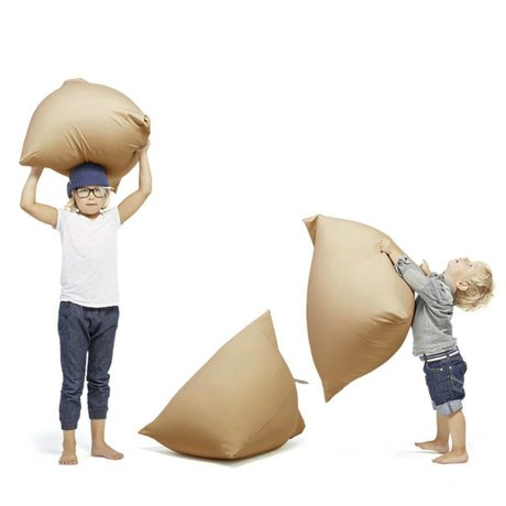 Terapy Children Beanbag Sydney pyramid sand / brown cotton 60x60x60cm 130liter