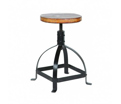 LEF collections Children's Piano Stool metal / wood black / brown 47-60x30cm
