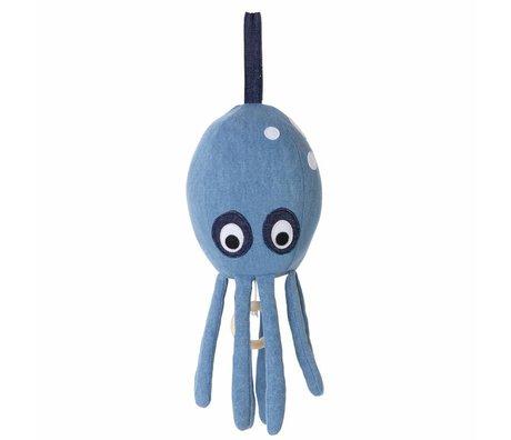 Ferm Living kids Music Mobile Octopus blue cotton 30x12cm