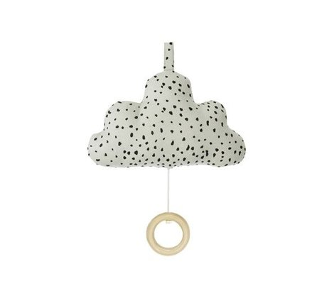 Ferm Living kids mobile with music cotton Cloud green 16x10cm