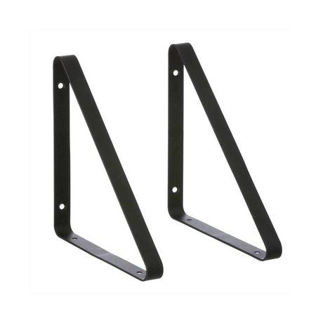Ferm Living kids Plankdragers zwart metaal set van 2 24,5x2,5x24,5cm