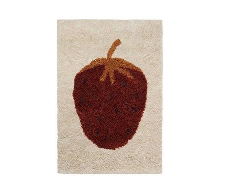 Ferm Living kids Vloerkleed kinderkamer Fruiticana Strawberry multicolor textiel S 120x80cm
