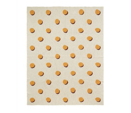 Ferm Living kids Kinderdeken Double Dot wit geel textiel 160x120cm