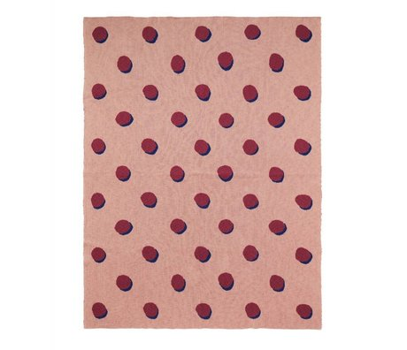 Ferm Living kids Kinderdeken Double Dot roze bordeaux textiel 160x120cm