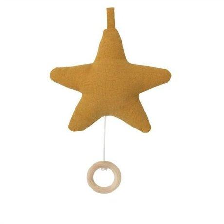 Ferm Living kids Muziekmobiel Star okergeel katoen 14x10cm