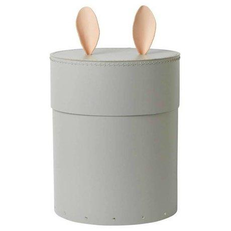 Ferm Living kids Opbergdoos met konijnenoren Rabbit grijs karton leer ø30x35cm