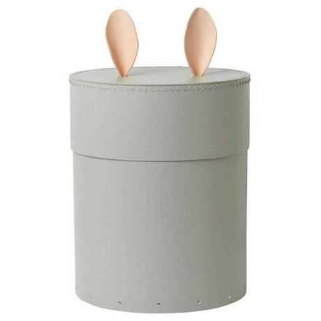 Ferm Living kids Storage box with rabbit ears Rabbit gray cardboard leather ø30x35cm