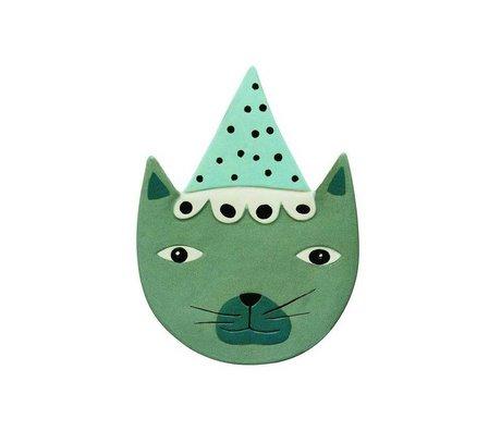 OYOY Kinderwandbord Buster Cat blauw groen keramiek 20x27cm