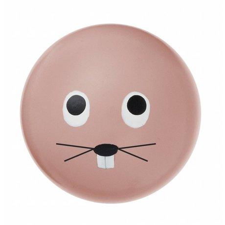 Ferm Living kids Kinderwandhaakje 'Rabbit hook' roze hout ø5cm