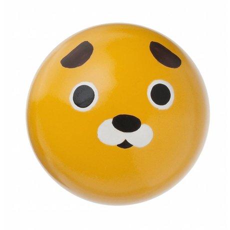 Ferm Living kids Kinderwandhaakje 'Dog hook' geel hout ø5cm