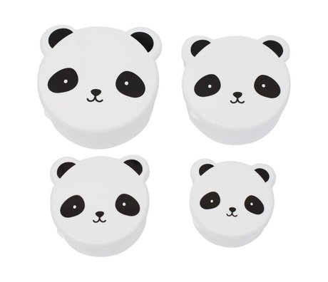 A Little Lovely Company Children's bread box snack box Panda black white plastic set of 4
