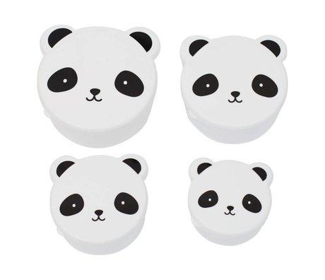 A Little Lovely Company Kinderbroodtrommel snack box Panda zwart wit kunststof set van 4