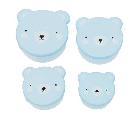 A Little Lovely Company Kinderbroodtrommel snack box Bear blauw kunststof set van 4
